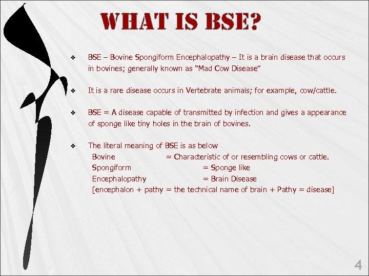 WHAt is Bse? v BSE – Bovine Spongiform Encephalopathy – It is a brain