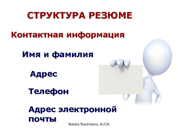 СТРУКТУРА РЕЗЮМЕ Контактная информация Имя и фамилия Адрес Телефон Адрес электронной почты Natalia Slastnikova,