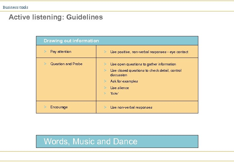 Business tools Active listening: Guidelines Drawing out information Ø Pay attention Ø Use positive,