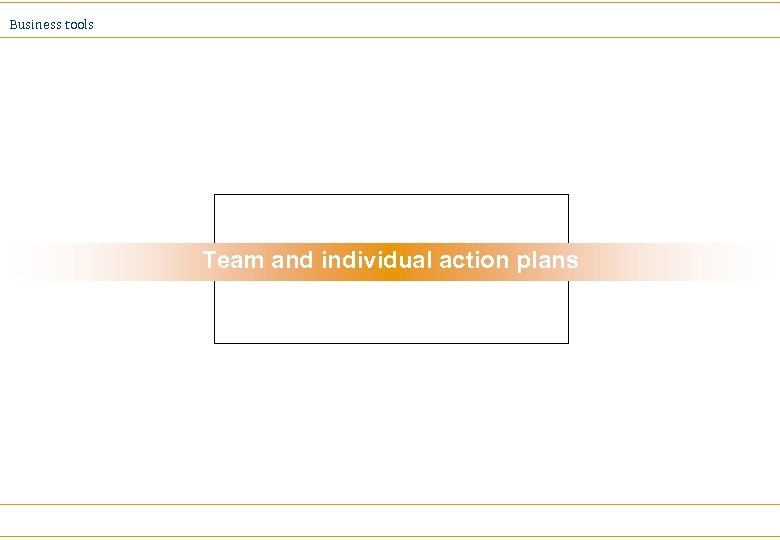 Business tools Team and individual action plans