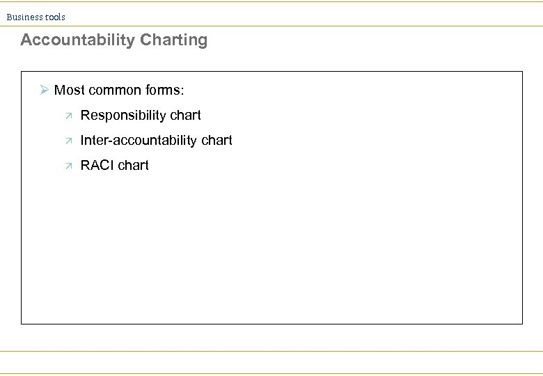 Business tools Accountability Charting Ø Most common forms: ä Responsibility chart ä Inter-accountability chart