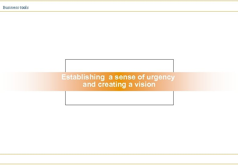 Business tools Establishing a sense of urgency and creating a vision