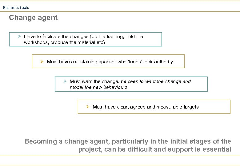 Business tools Change agent Ø Have to facilitate the changes (do the training, hold