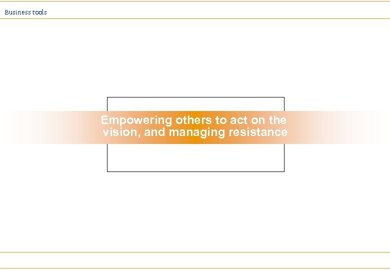 Business tools Empowering others to act on the vision, and managing resistance