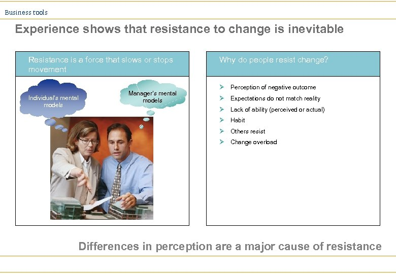 Business tools Experience shows that resistance to change is inevitable Resistance is a force