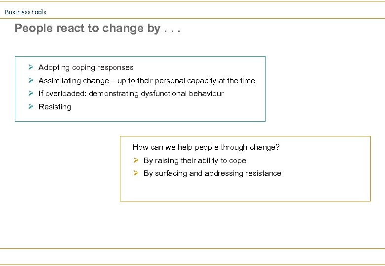 Business tools People react to change by. . . Ø Adopting coping responses Ø