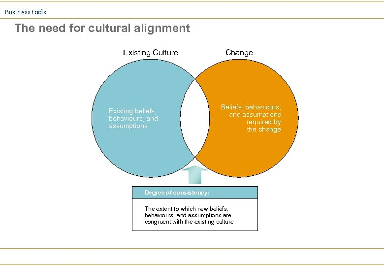 Business tools The need for cultural alignment Existing Culture Existing beliefs, behaviours, and assumptions