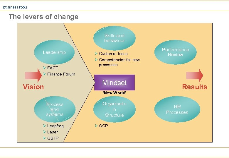 Business tools The levers of change Skills and behaviour Leadership Ø FACT Ø Finance