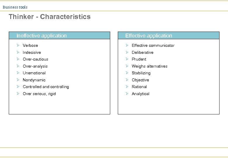Business tools Thinker - Characteristics Ineffective application Effective application Ø Verbose Ø Effective communicator