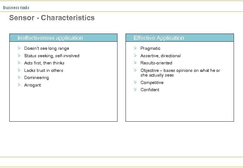 Business tools Sensor - Characteristics Ineffectiveness application Effective Application Ø Doesn't see long range