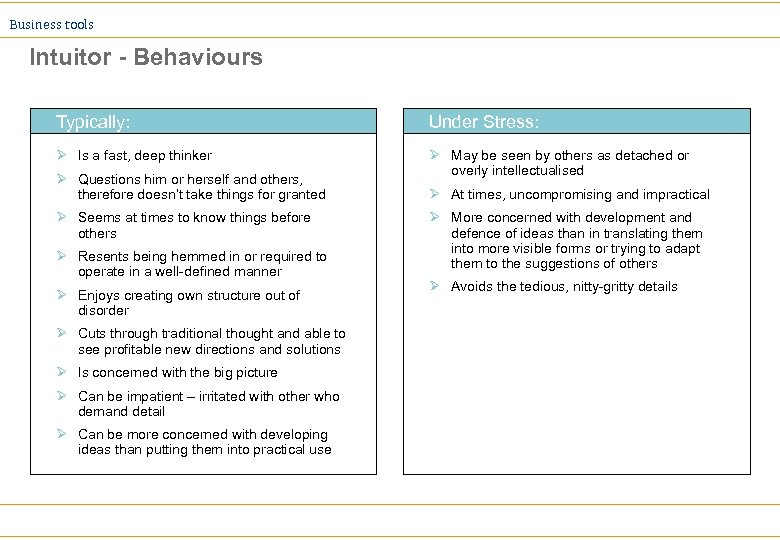 Business tools Intuitor - Behaviours Typically: Under Stress: Ø Is a fast, deep thinker