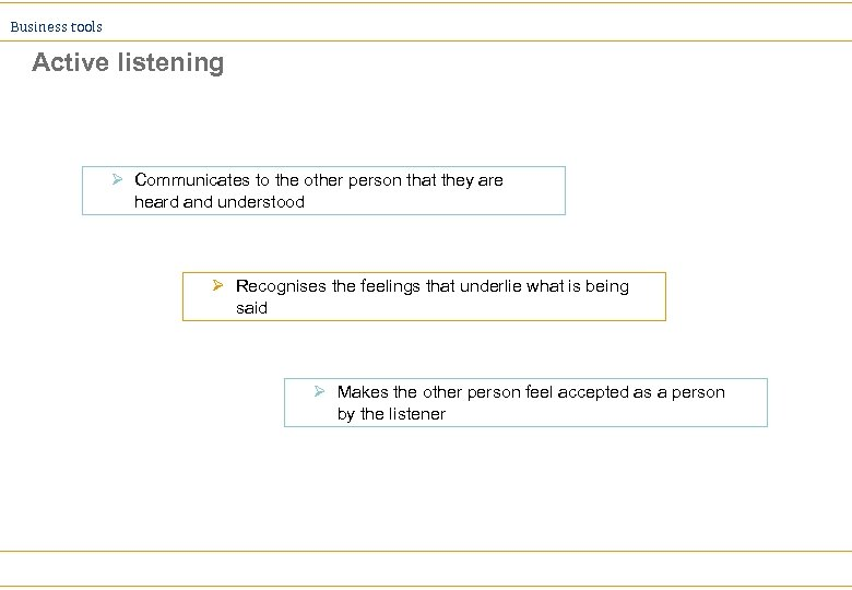 Business tools Active listening Ø Communicates to the other person that they are heard