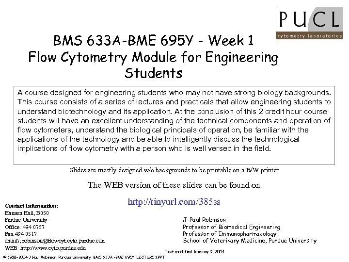 BMS 633 A-BME 695 Y - Week 1 Flow Cytometry Module for Engineering Students