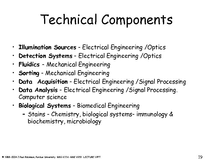 Technical Components • • • Illumination Sources - Electrical Engineering /Optics Detection Systems -