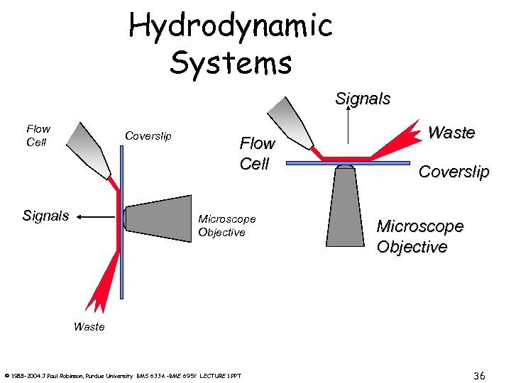 Hydrodynamic Systems Signals Flow Cell Coverslip Signals Flow Cell Microscope Objective Waste Coverslip Microscope