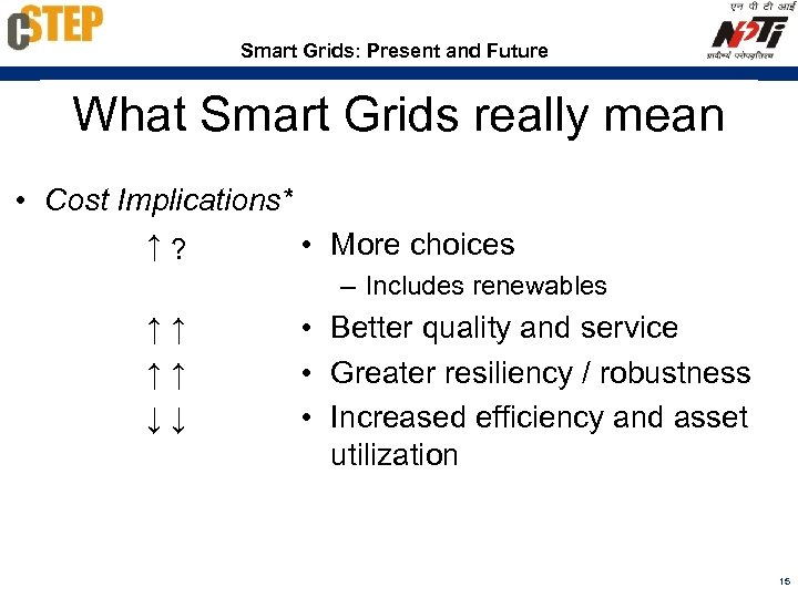 Smart Grids: Present and Future What Smart Grids really mean • Cost Implications* ↑?