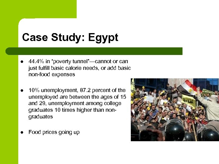 """Case Study: Egypt l 44. 4% in """"poverty tunnel""""—cannot or can just fulfill basic"""