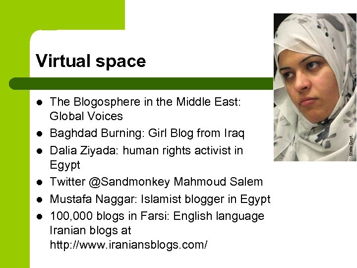 Virtual space l l l The Blogosphere in the Middle East: Global Voices Baghdad