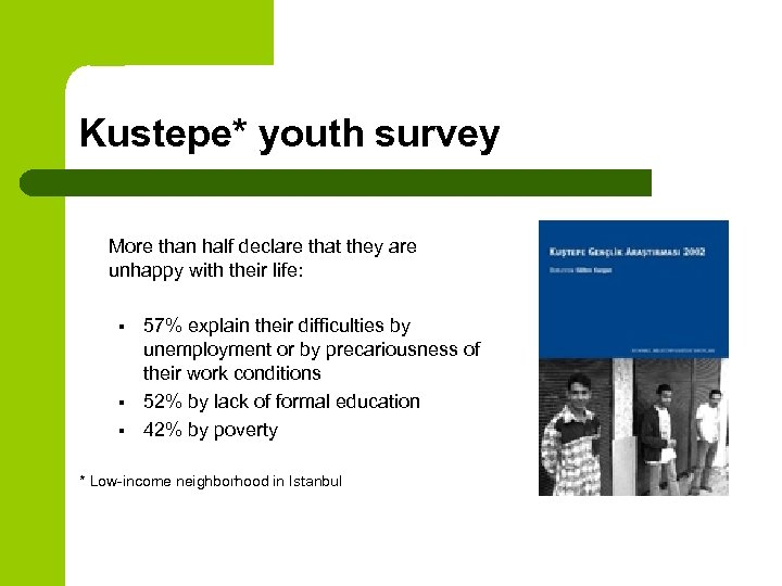 Kustepe* youth survey More than half declare that they are unhappy with their life: