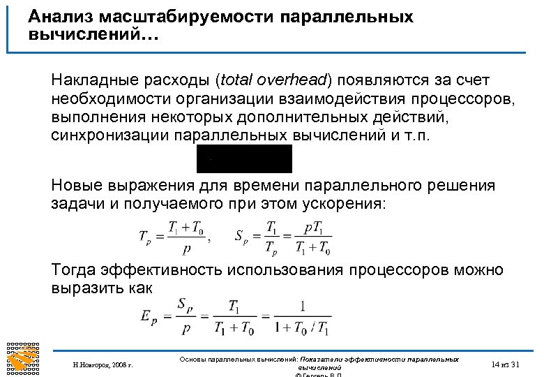 Анализ масштабируемости параллельных вычислений… Накладные расходы (total overhead) появляются за счет необходимости организации взаимодействия