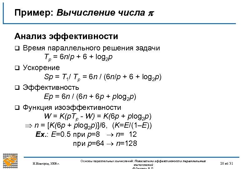 Пример: Вычисление числа Анализ эффективности Время параллельного решения задачи Tp = 6 n/p +