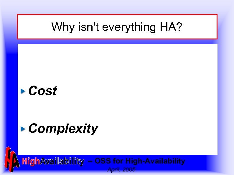 Why isn't everything HA? Cost Complexity -- OSS for High-Availability April, 2005