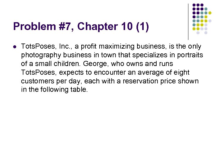Problem #7, Chapter 10 (1) l Tots. Poses, Inc. , a profit maximizing business,