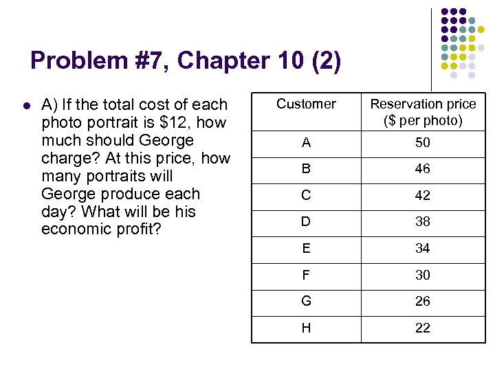 Problem #7, Chapter 10 (2) l A) If the total cost of each photo