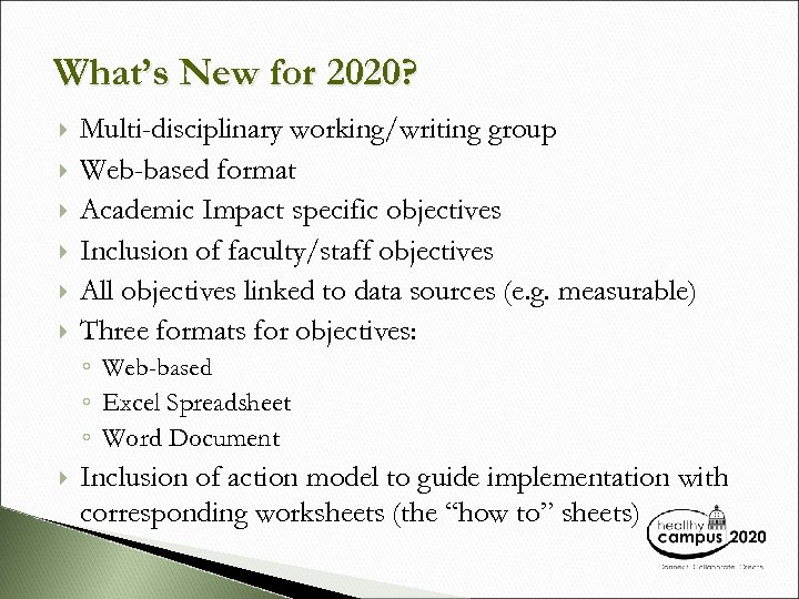 What's New for 2020? Multi-disciplinary working/writing group Web-based format Academic Impact specific objectives Inclusion