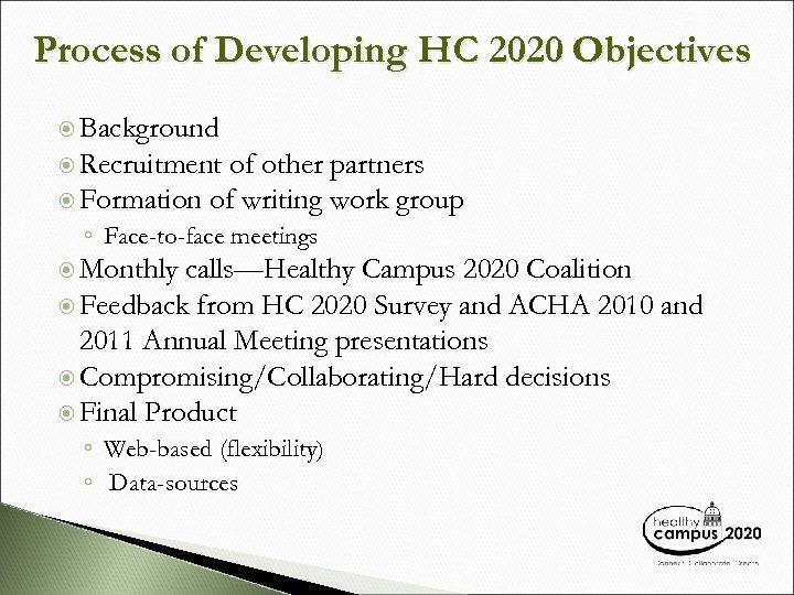 Process of Developing HC 2020 Objectives Background Recruitment of other partners Formation of writing