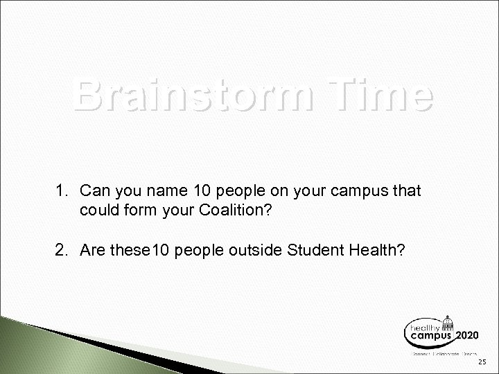 Brainstorm Time 1. Can you name 10 people on your campus that could form
