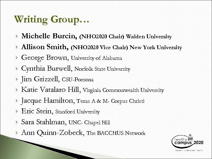 Writing Group… Michelle Burcin, (NHO 2020 Chair) Walden University Allison Smith, (NHO 2020 Vice