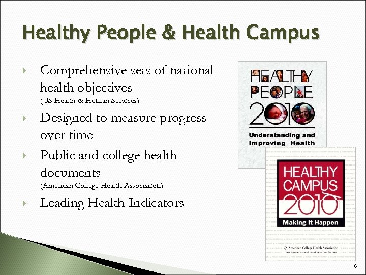 Healthy People & Health Campus Comprehensive sets of national health objectives (US Health &
