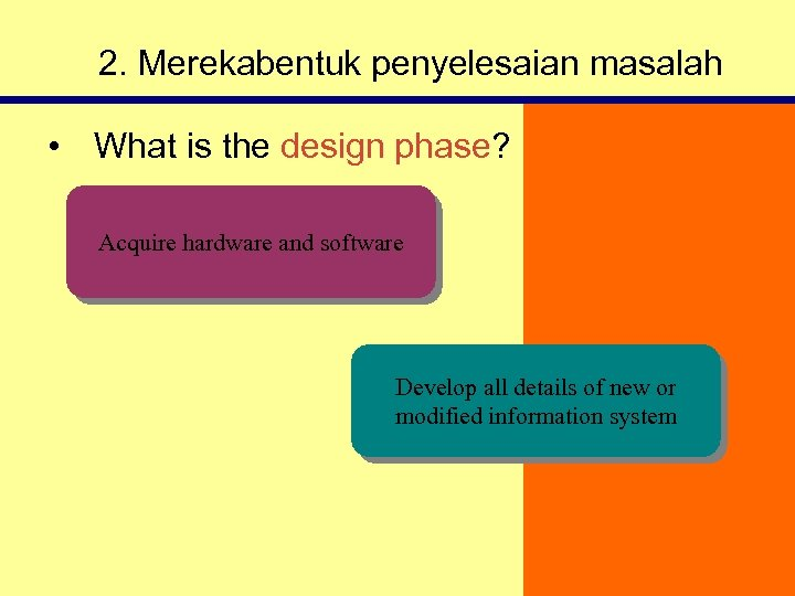 2. Merekabentuk penyelesaian masalah • What is the design phase? Acquire hardware and software