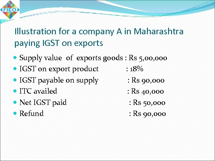 Illustration for a company A in Maharashtra paying IGST on exports Supply value of