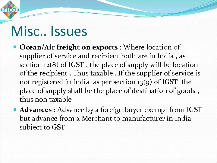 Misc. . Issues Ocean/Air freight on exports : Where location of supplier of service