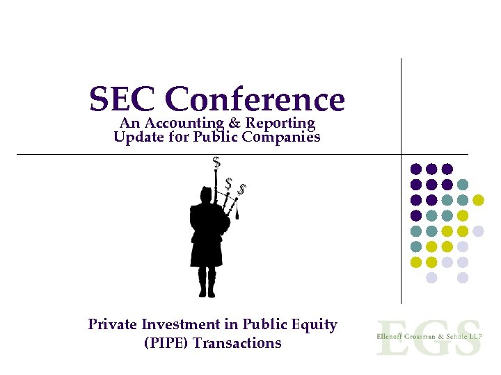 SEC Conference An Accounting & Reporting Update for Public Companies Private Investment in Public