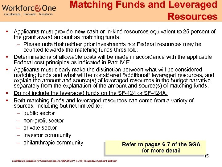 Matching Funds and Leveraged Resources § § § Applicants must provide new cash or
