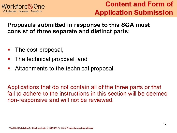 Content and Form of Application Submission Proposals submitted in response to this SGA must