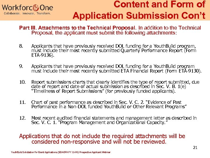 Content and Form of Application Submission Con't Part III. Attachments to the Technical Proposal.