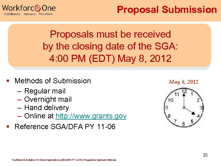 Proposal Submission Proposals must be received by the closing date of the SGA: 4: