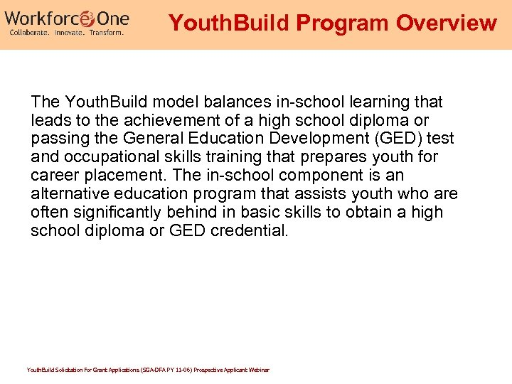 Youth. Build Program Overview The Youth. Build model balances in-school learning that leads to