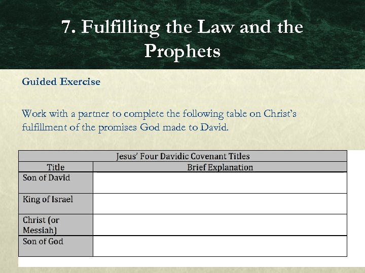 7. Fulfilling the Law and the Prophets Guided Exercise Work with a partner to