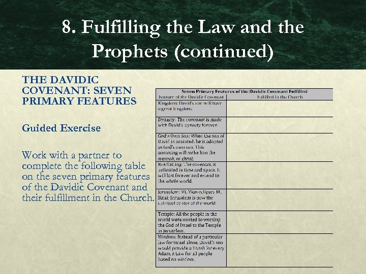 8. Fulfilling the Law and the Prophets (continued) THE DAVIDIC COVENANT: SEVEN PRIMARY FEATURES