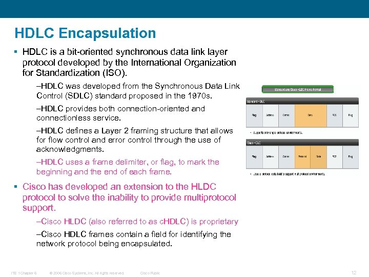 HDLC Encapsulation § HDLC is a bit-oriented synchronous data link layer protocol developed by