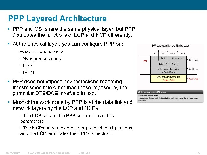 PPP Layered Architecture § PPP and OSI share the same physical layer, but PPP