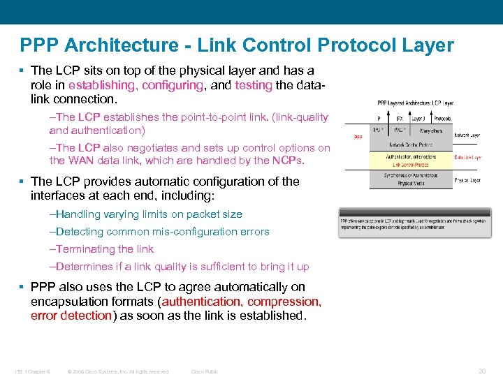 PPP Architecture - Link Control Protocol Layer § The LCP sits on top of