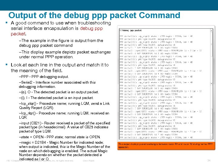 Output of the debug ppp packet Command § A good command to use when