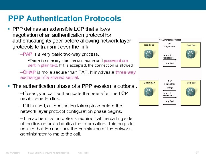 PPP Authentication Protocols § PPP defines an extensible LCP that allows negotiation of an