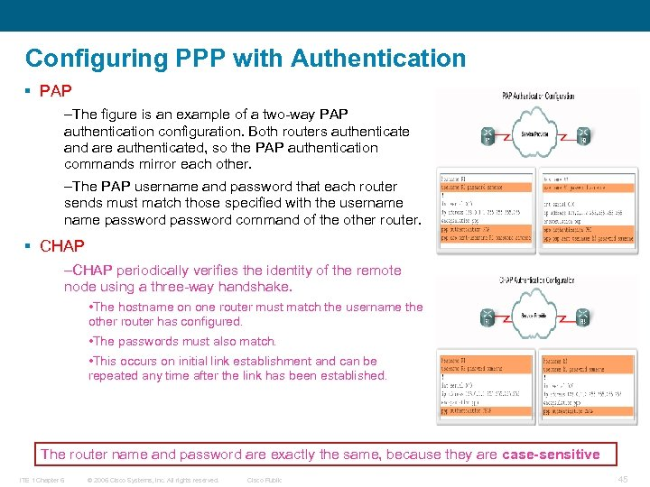 Configuring PPP with Authentication § PAP –The figure is an example of a two-way